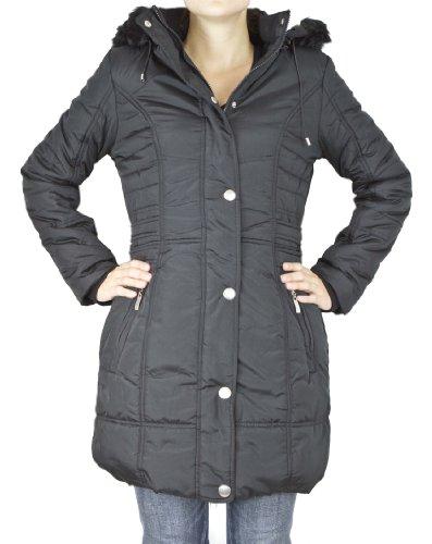 Hiver en avec capuche Femme polaire Noir doublure Manteau confortable qxEBwXnn