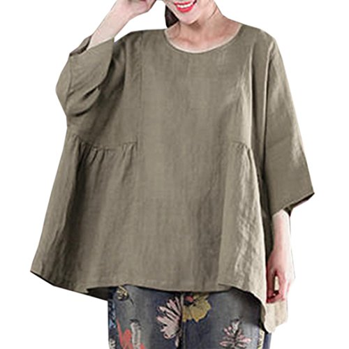 Vert zahuihuiM Rtro Nouvelle La Mode Taille Blouse Femmes Dress Lache Automne Plus Printemps Pull Solide Chemise Manches Tops O Cou Demi Casual wr818gZ