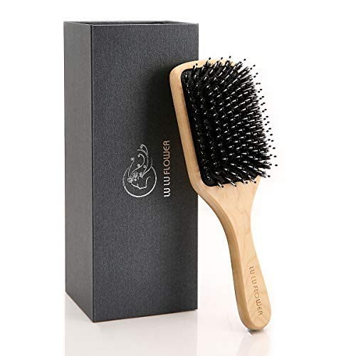 (Hair Brush, Boar Bristle Hairbrush for Women and Men, Perfect Mixture of Boar Bristle and Nylon Pins, Adding Hair Shine, Softness & Health,Best for Thick,Curly,Dry or Damaged Hair,Reduce Frizz,Giftbox)