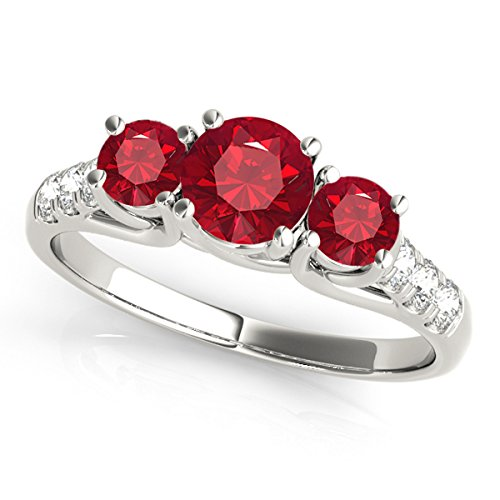 2Ct. Ttw Diamond And Round Shaped Created Ruby Ring In 10K White Gold 2 Ct Ruby Ring