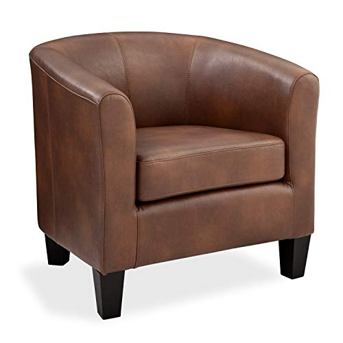 Grafton 1572-01-L10 Joseph Faux Leather Barrel Chair One Size Saddle