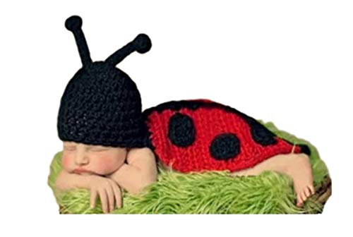 770 Home Newborn Baby Boy and Girl Photoshoot Costume Knit Crochet Hat and Pants Outfits, Ladybug 1 Piece ()