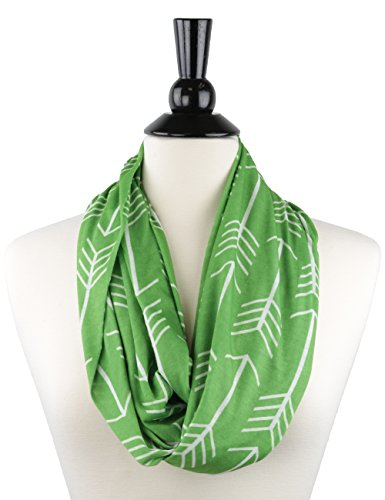 Cyber-Monday-Sale-2017, Holiday-Deals, Sales - Green Womens Infinity Scarves with Arrow Pattern and Hidden Zipper Pocket (Green) (Wrap Pattern)
