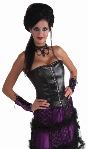 Forum Novelties Slick and Evil Leather Look Corset, Black, One Size Costume
