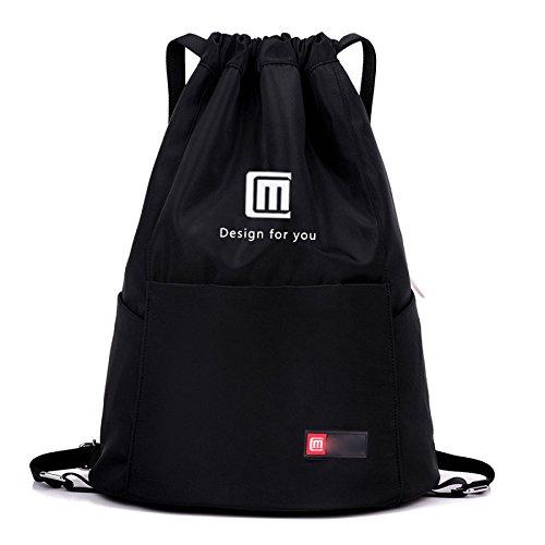 MYLL Hombres Y Mujeres Sports Fitness Backpack Sencillo Bolso De Viaje Al Aire Libre,WaterproofTreasureBlueNoPocket Black