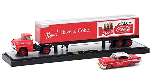M2 Machines Limited Edition Coca-Cola Hauler Series - 1958 Chevrolet Spartan LCF & 1957 Chevrolet Bel Air