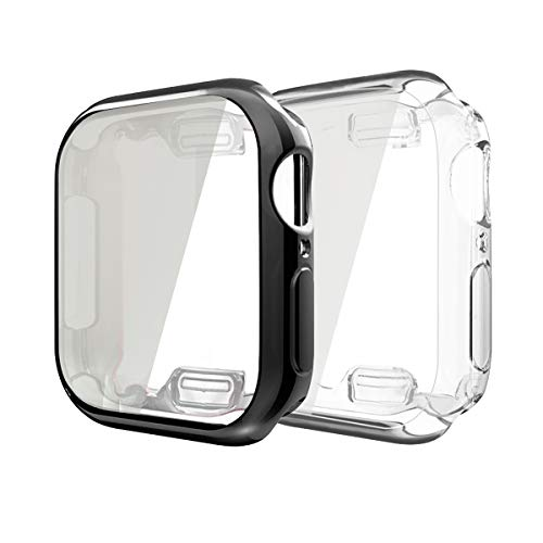 Compatible with Apple Watch Series 4 Case with Buit in TPU Screen Protector 44mm,2 Pack All Around Protective Case Ultra-Thin Cover Compatible for Apple iwatch Series 4 44mm (2Pack(Clear+Black), 44mm)