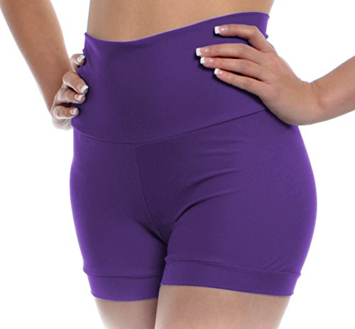 B Dancewear Womens High Waisted Dance Shorts X-Large Purple Adult Sizes With Fold Over Band and Stretch