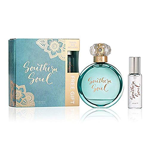 Southern Soul Perfume by Tru Fragrance and Beauty Holiday Gift Pack - Fruity Floral fragrance - Fresh and Feminine Eau de Parfum with Travel Spray - 1.7 oz + 0.5 oz Mini