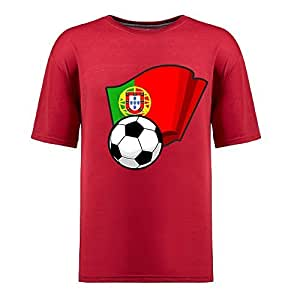 Custom Mens Cotton Short Sleeve Round Neck T-shirt,2014 Brazil FIFA World Cup Soccer Flags red