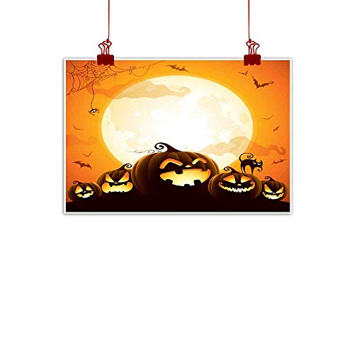 Mannwarehouse Chinese Classical Oil Painting Halloween Pumpkins Under The Moonlight for Living Room Bedroom Hallway Office 47