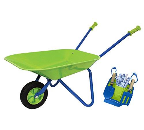 Little Moppet Kids metal wheelbarrow gardening set with tool belt, gardening gloves, spade and hand fork - lime & blue by Little Moppet