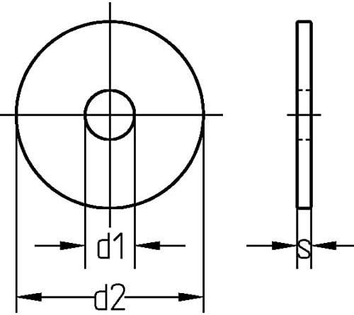 M6 M12 Kotfl/ügelscheiben Unterlegscheiben Stahl 50, 6,4 x 35 mm Karosseriescheiben verzinkt M5