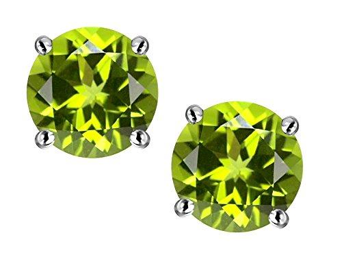 (Star K Round 6mm Genuine Peridot Classic Screw Back Stud Earrings 14 kt White Gold)