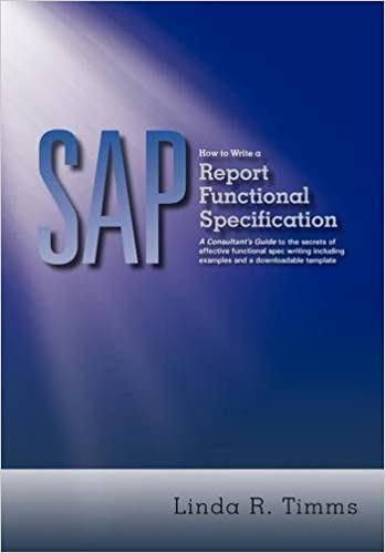 Amazoncom SAP How To Write A Report Functional Specification A - Report functional specification template