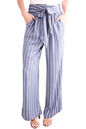 Ybenlow Women's Vertical Striped High Waist Stretch Wide Leg Long Bottom Pallazo Capris Pants with Waist Tie (X-Large, Multicolor) ()