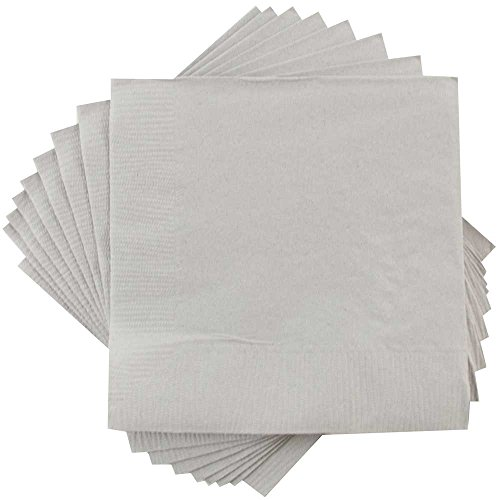JAM PAPER Medium Lunch Napkins - 6 1/2 x 6 1/2 - Silver - 50/Pack]()