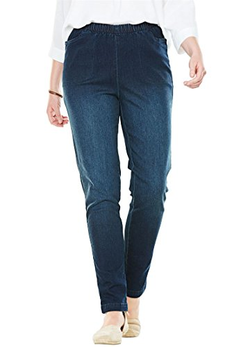 Woman Within Plus Size Tall Straight Leg Fineline Jean - Indigo Sanded, 12 T