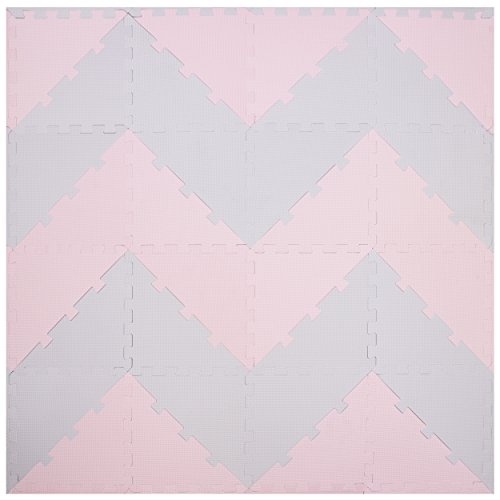 Chevron Play Tiles | Kids Foam Puzzle Mats | Soft EVA Flooring for Babies Playspot | Non Toxic + Extra Thick Squares for Baby Room Interlocking Exercise Rubber Board Yoga Garage Workout Fitness Gym