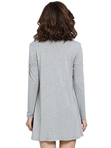Grey Loose Sleeve Dress Turtleneck Casual Long Women's Celewe Shirt T wzRqwfax
