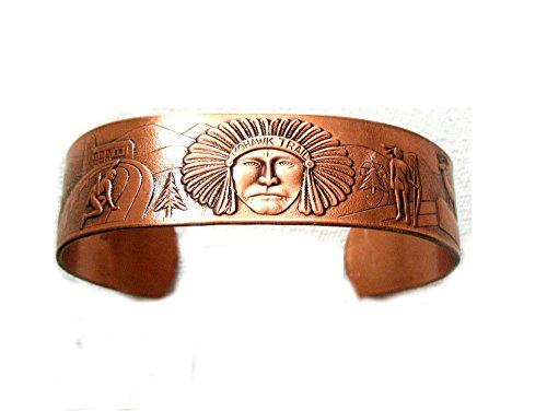 Solid Copper Cuff Bracelet with Native American Indian Chief Tipi ()