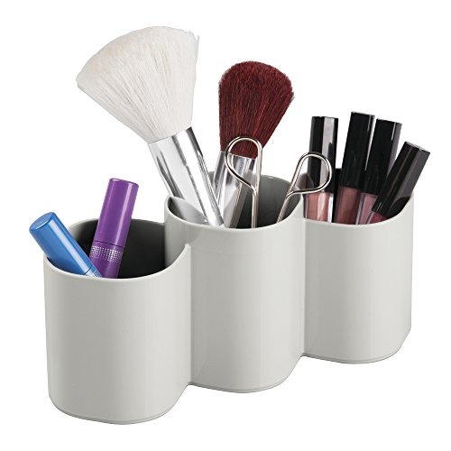InterDesign Clarity Cosmetic Organizer Trio Cup for Vanity Cabinet To Hold Makeup Brushes, Beauty Products - Light Gray by InterDesign