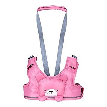 UHMei - Arnés de seguridad para niños con dibujos animados para caminar, 3 en 1, ajustable, correa para el cinturón rosa rosa