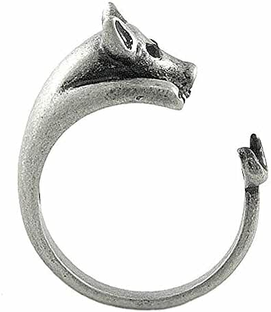 Enhanced Pig Adjustable Animal Wrap Ring Vintage Silver Tone
