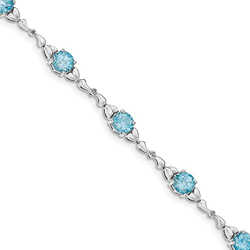 Sterling Silver Lt. Swiss Blue Topaz & Diamond Bracelet by CoutureJewelers