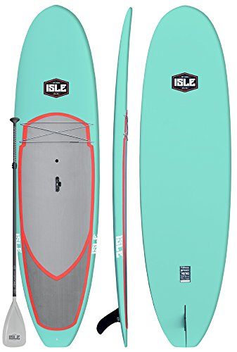 ISLE Versa Epoxy 10'5 Standup Paddle Board (4.5' Thick) SUP Package Includes Adjustable Paddle Carbon Shaft Nylon Blade, Carry Handle, Center Fin (Aqua)