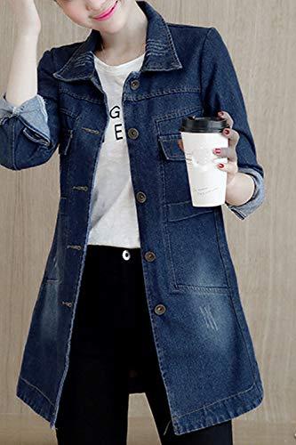 A Jeans Donna Di Taglia Blu Primavera Si Lunghe Scurocolor Autunno Maniche Fasumava Giacca x6wtA