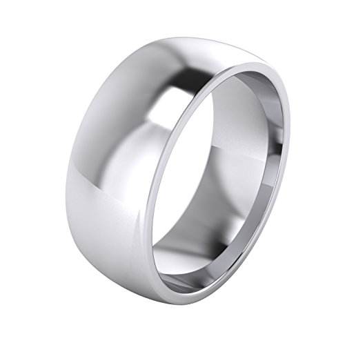 Mens Sterling Silver 8mm Super Heavy Court Shape Polished Wedding Ring (13)