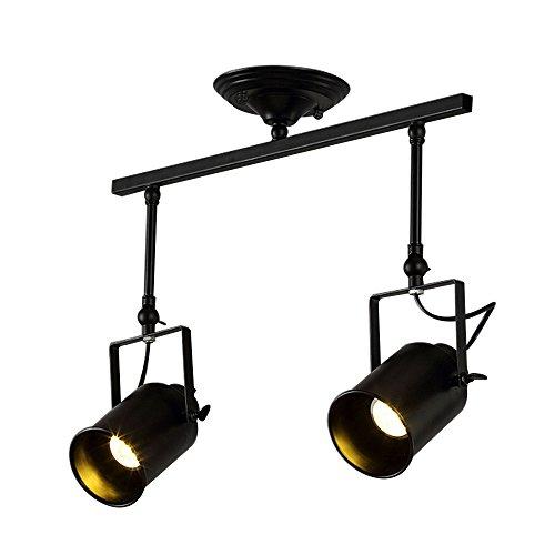 Jeffrien Vintage Industrial Ceiling Spotlight, Retro Minimalist Adjustable 2 Lamp Black Metal Track Lighting Fixture for Office Loft Hall Bedroom Restaurant Hotel Coffee (Adjustable Club Floor Lamp)