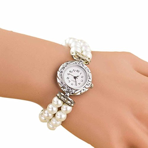 Pearl White Watch (Hemlock Round Girl's Students Pearl Bracelet Watches Quartz Dial Wrist Watch)