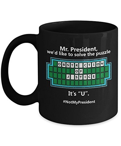 Anti Trump Coffee Mug - Funny Democrat Gift 11oz Black Ceramic Tea Cup. Excellent Political Present for Birthdays Anniversaries. Set of 1. Resist!