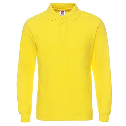 NeedBo Men's Long Sleeve Casual Solid Golf Polo Shirt,Light Yellow,XXL