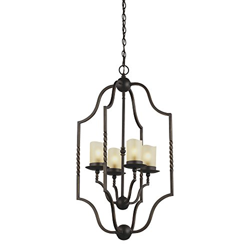 (Sea Gull Lighting 5110604-191 Trempealeau Four-Light Hall or Foyer Light Fixture with Champagne Seeded Glass, Roman Bronze Finish)