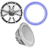 Wet Sounds Revo 12 Subwoofer, Grill, RGB LED Ring - White Subwoofer & Gunmetal Steel Grill - 4 Ohm
