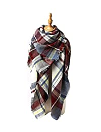 American Trends Women Fashion Winter Scarf Warm Soft Plaid Scarf Cozy Blanket Shawl Cozy Purple