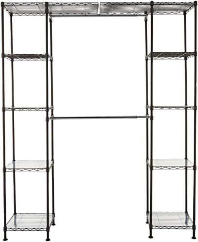 AmazonBasics Expandable Metal Hanging Storage Organizer Rack Wardrobe with Shelves, 14