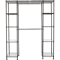 "AmazonBasics Expandable Closet Organizer - 14"" x 58"" Expands to 63"" x 72"", Bronze"