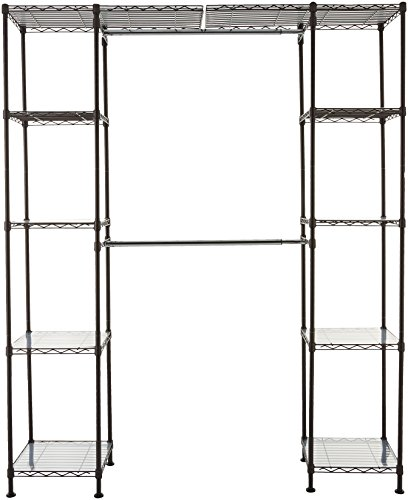 - AmazonBasics Expandable Metal Hanging Storage Organizer Rack Wardrobe with Shelves, 14