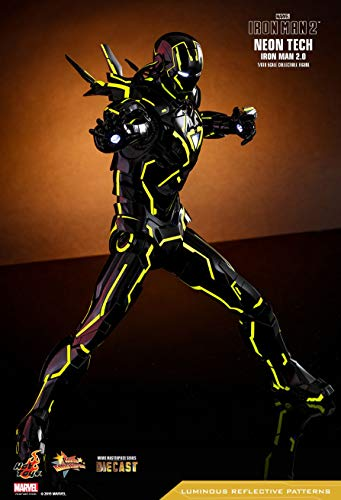 Hot Toys Movie Masterpiece - Iron Man 2 - Mark VI (6) Neon Tech Suit Diecast 1/6 Sixth Scale Collectible Figure 2019 Toy Fair Exclusive Limited Edition (Iron Man 2 Mark Vi Hot Toys)
