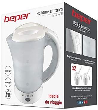 BEPER Hervidor de Agua El/éctrico BB.001 Capacidad 0.5L 600W Pl/ástico 0 Decibeles Wei/ß 0.6 litros 600 W