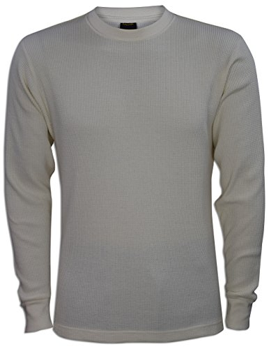 JLGUSA Men Heavy Weight Plain Thermal Long Sleeve Waffle Shirts Solid Colors (L, (Ivory Thermal Shirt)