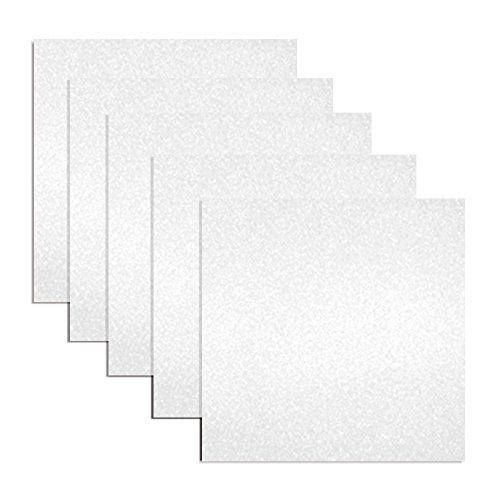 Glossy Glitter Vinyl Adhesive 12 x 12 Sheets | 5 Pack | 5 Feet Total (White)