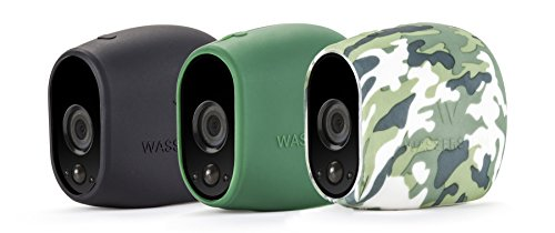 3 x Silicone Skins Compatible with Arlo Smart Security – 100% Wire-Free Cameras — by Wasserstein (Black/Green/Camouflage)
