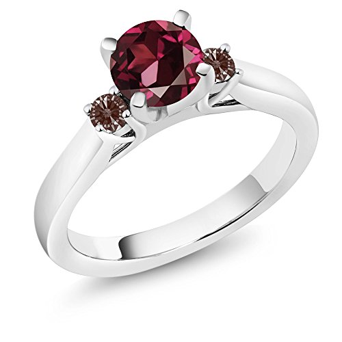 Gem Stone King 1.22 Ct Round Rhodolite Garnet 925 Sterling Silver 3-Stone Engagement Ring (Size 6)