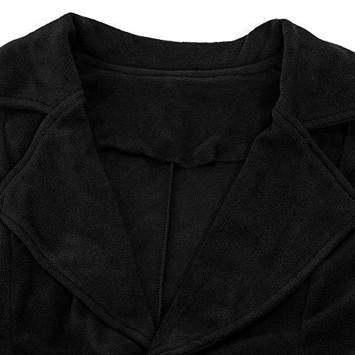 Outwear Di Lunghe Nero Lana Maniche Invernale Pulsante Giacca Cappotto Donne Tasca Malloom Cotone OxnBg7qPW