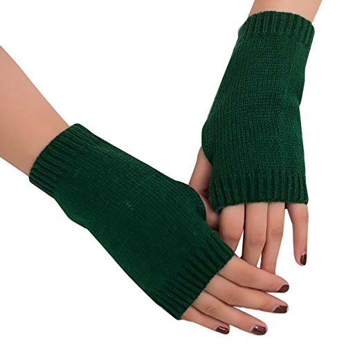 's Hand Warmer Solid Wool Knitted Fingerless Winter Wrist Warm Soft Gloves Mitten ()